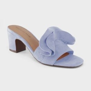 New WWW Blue Suede Zadie Heeled Slide Sandals NWT